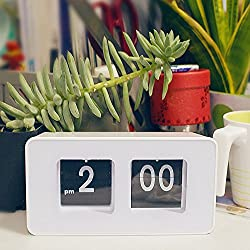 Pevor Auto Flip Clock Classic Stylish Modern Desk Wall Clock, Retro Digital Desk Table File Down Page Clock, White