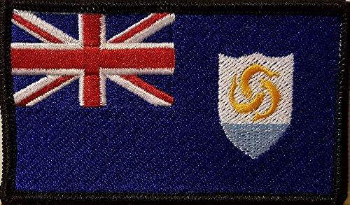 ANGUILLA Flag Embroidered IRON-ON Patch Morale Military / Biker Emblem BLACK Border