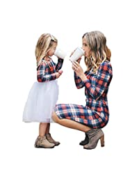Fotoostore Vestido a Juego para Madre e Hija, Vestido de Tul a Cuadros de Manga Larga para mamá y yo