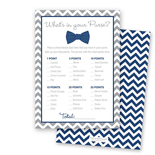 24 Bow Tie What's In Your Purse Game Cards (Navy)