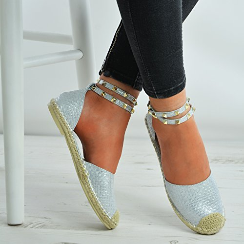 Skin Rock Summer Womens Strap Sandals Size Brand Buckle Toe Comfy 8 Espadrille Uk Silver Girls Shoes Ladies 3 Closed Studs Flats New Ankle Snake pqx0nOxg