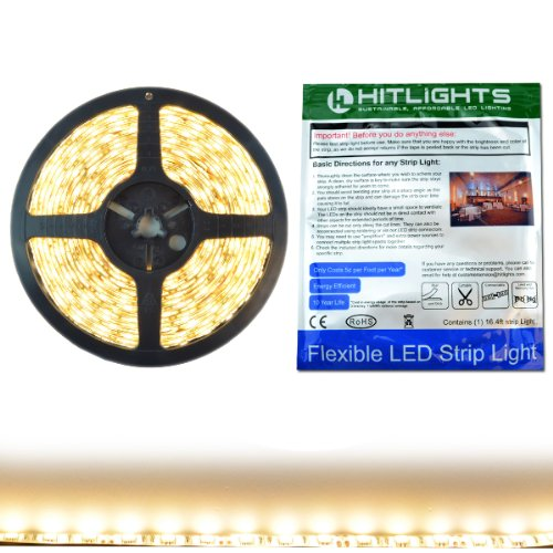HitLights High Density Weatherproof LED Light Strip - Warm White 3000K SMD 5050 - 300 LEDs, 16.4 Ft Roll - 12V DC - 247 Lumens / 4 Watts per Foot - IP-65 - Adhesive Backed for Easy Installation - LED Tape Light