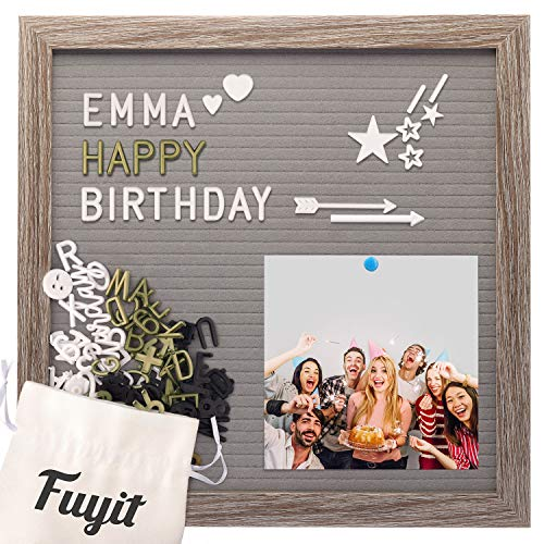 Felt Letter Board Message Sign 12x12, Gray EVA Changeable Letterboard for Photo Display, 600 White, Gold and Black Characters, Cursive Words, Original Wood Frame Announcement Board with Stand