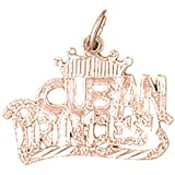 14K Rose Gold Cuban Princess Pendant Necklace - 19 mm