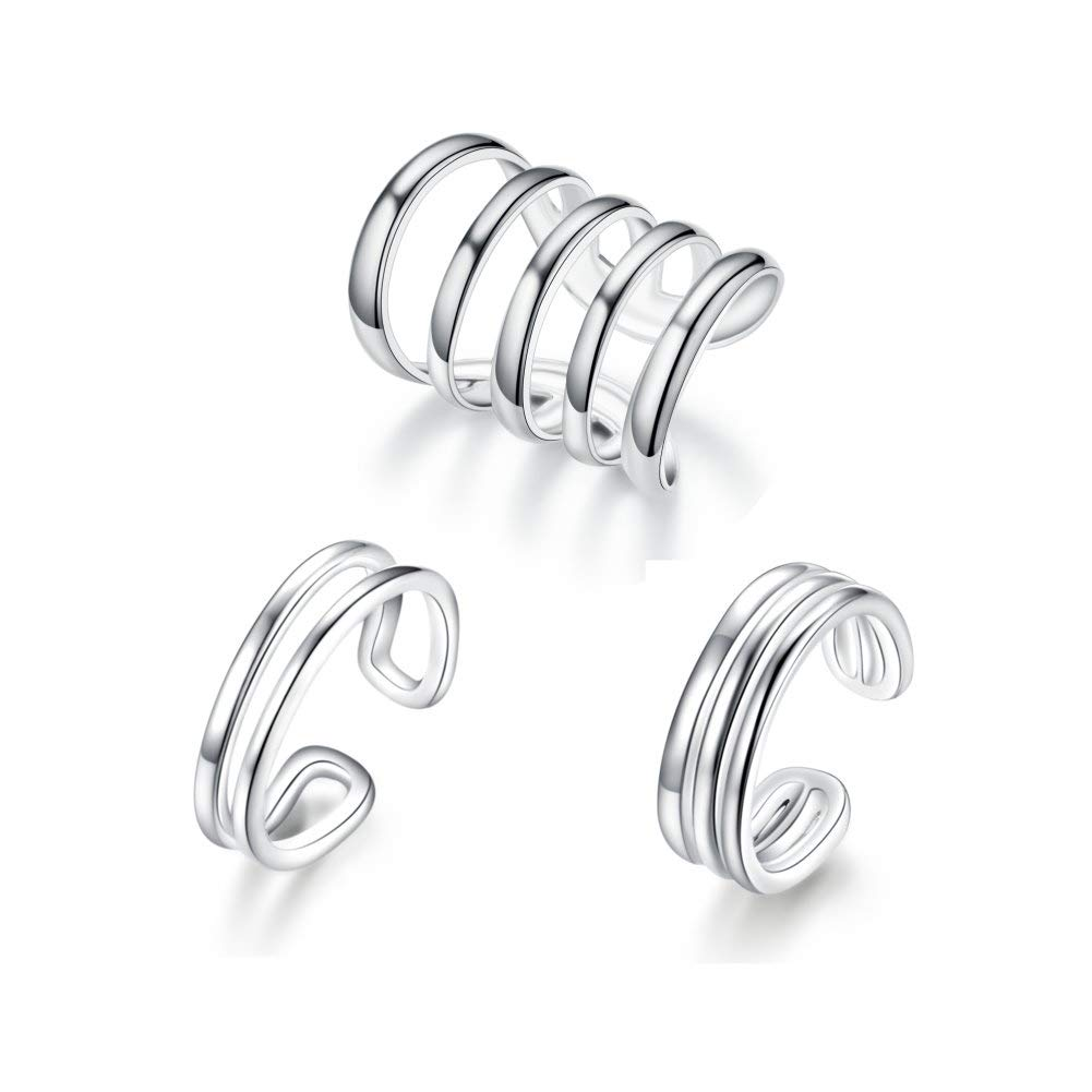 925 Sterling Silver Multi Circles Cuff Earrings for Women Teen Girls Cartilage Non Pierced Ear Clip On Wrap (three pieces)