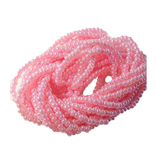 Pink Ceylon Pearl Czech 6/0 Seed Bead on Loose Strung 6 String Hank Approx 900 -