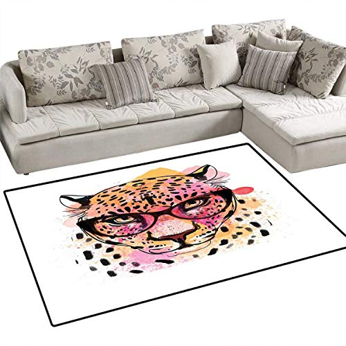 (Girls Anti-Skid Rugs Watercolor Style Portrait of Leopard with Glasses Splashing Paint Art Style Girls Rooms Kids Rooms Nursery Decor Mats 48