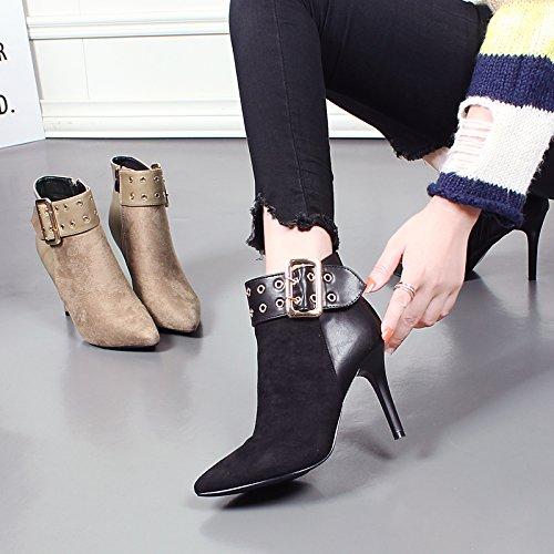 KHSKX-Kurze Stiefel Weibliche Stiefel Für Den Winter Schuhe Nähen Rivet Gürtelschnalle Kopf Gut Mit Martin Stiefel High Heel Ritter Stiefel black
