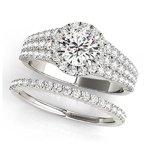 14K White Gold Unique Wedding Diamond Bridal Set Style MT51025