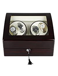 CRITIRON 4+6 Automatic Watch Winder Luxury Storage Case Rotating Display Box, Wood Shell with Piano Paint (Brown+White)