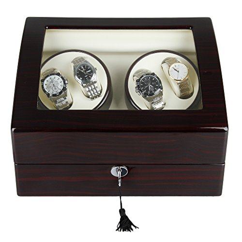 Excelvan Mens Luxury Wood Watch Winder Leather Storage Display Box Automatic Rotation Jewelry Case Organizer (4+6 Dark Brwon)