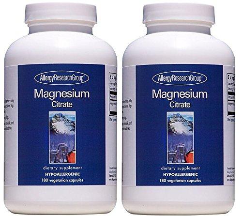 マグネシウム 180カプセル (Magnesium Citrate 180 Vegetarian Caps) [海外直送品] 2ボトル B00UMX6CZC