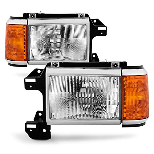 Xtune 1987-1991 Bronco, F-Series Direct Fit Headlights Driver+Passenger Side Pair L+R 1988 1989 1990 89 Ford Bronco Headlight