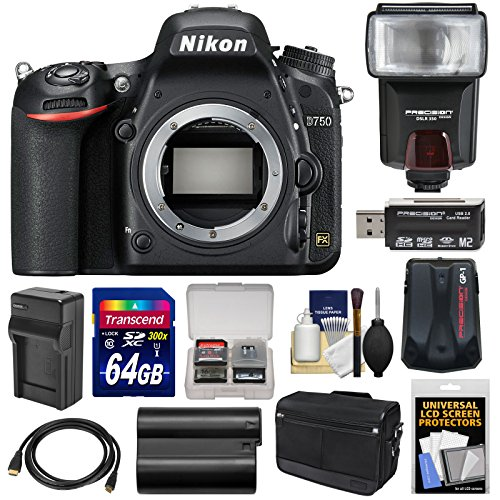Nikon D750 Digital SLR Camera Body with 64GB Card + Battery & Charger + Messenger Bag + GPS Adapter + Flash + Kit ()