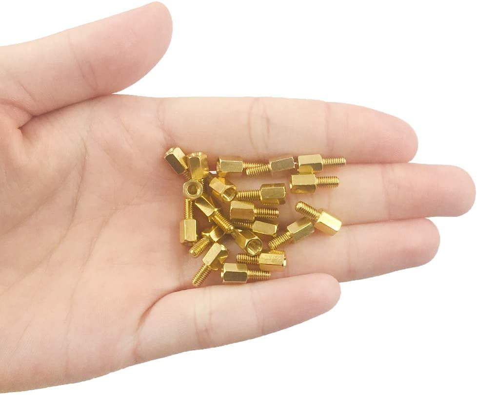 Jabinco 20 Pcs M3 Brass Screw Thread PCB Stand-Off Spacer Male and Female 6mm