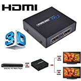SQDeal Mini Full 3D HD 1x2 HDMI Splitter 1 in 2 Out 1080P Ver 1.4 Powered Amplifier,Distributor 1 input to 2 Output Ports for HDTV XBOX Sky HD, Blu-ray, PS3, XBox 360, 3D HDTV Dual Display Metal Case
