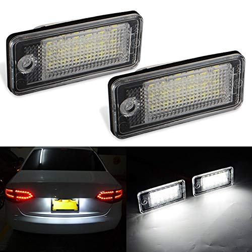 GTP 18 SMD LED License Plate Light For Audi A3 S3 A4 S4 A5 A6 S6 A8 S8 Q7 RS4 6000K White Error Free Rear Number Plate Tag Lamp Direct Replacement