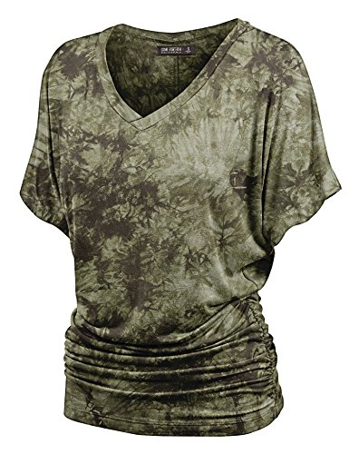 Lock and Love WT1114 Womens V Neck Short Sleeve Tie Dye Shirring Dolman Top XXL Olive