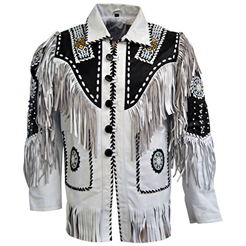 Handmade Fitters Men Cow Leather Western Cowboy Jacket With Fringe, Bone and Beads - Large - White