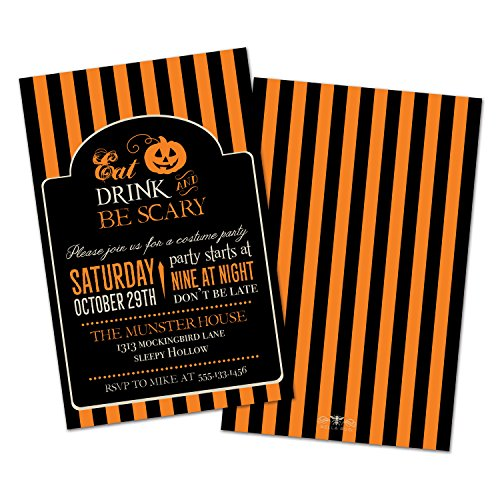Eat, Drink, & Be Scary Personalized Halloween Party Invitations (Set of (Print Off Halloween Invitations)