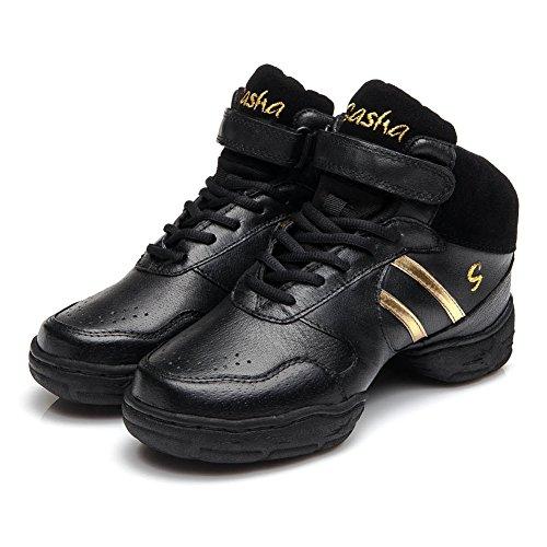 Roymall Uomo E Donna In Pelle Boost Dance Sneaker / Moderno Jazz Sala Da Ballo Prestazioni Da Ballo Scarpe Da Ginnastica Scarpe Da Ginnastica, Modello B51 / B52 / B53 Nero + Oro-2