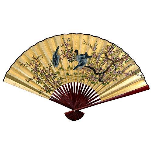 Oriental Furniture Gold Leaf Birds & Flowers Fan - 30