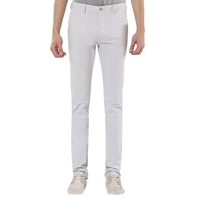 e04ed4d05bdf Pantaloni Diritti di Affari di Slim Uomini Abbigliamento degli Fit Casuali Pantaloni  Diritti Domestici di Casa di Colore Solido Anti Wrinkle: Amazon.it: ...