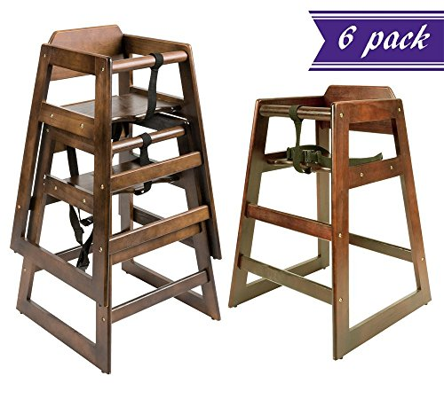 [Set of 6 Wooden High Chair for Babies, Walnut Finish Toddlers High Chair for Bar Restaurant Cafeteria Dining Stool Infant Feeding, Convenient Secure and Safe Children Seating, Stackable, Unassembled] (Bar Stool 6 Finishes)