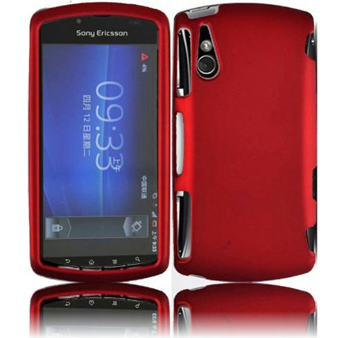Sony Ericsson Faceplate Cover - Red Rubberized Hard Snap-on Protector Shell Case Face Plate Cover For Sony Ericsson Xperia Play R800