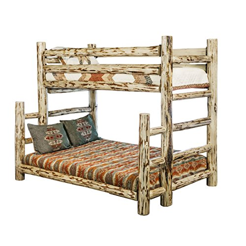 Montana Woodworks Collection Full Bunk Bed, Twin, Clear Lacquer - Log Loft Bed