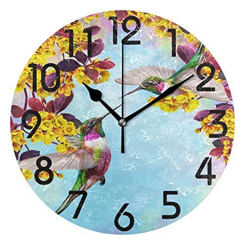 Naanle Fresh Two Little Hummingbird Blooming Flowers Round Wall Clock Decorative, 9.5 Inch Battery Operated Quartz Analog Quiet Desk Clock for Home,Office,School Blooming Flower Wall Clock