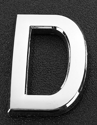 Do4U 2Pcs Silver Metal Letters A-Z Alphabet English Letters House & Mailbox Number 3D Radian Metal Number Self-stick (Letter 2 inches, D)