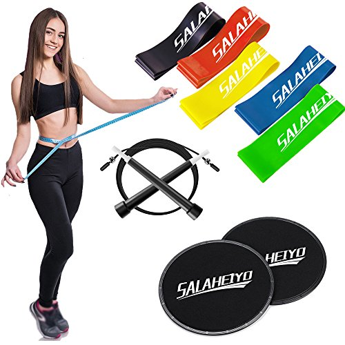 Exercise Bands Resistance Loop Gliding Discs Core Sliders Jump Rope Fitness Equipment Set Salaheiyo (Rope Rubber Jump Band)