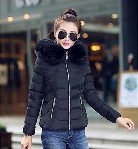 Feilongzaitianba Winter Jacket Women Winter Coat Women Fur Collar Hooded Warm Winter Coat & Parkas S-Xxl Black S by Feilongzaitianba