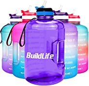 BuildLife Gallon Motivational Water Bottle Wide Mouth with Straw & Time Marked to Drink More Daily,BPA Fre
