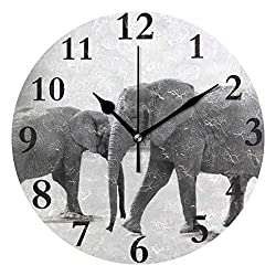 Dozili Elephant Round Wall Clock Arabic Numerals Design Non Ticking Wall Clock Large for Bedrooms,Living Room,Bathroom