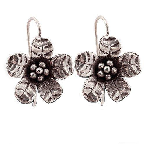 Flower Karen Hill Tribe Design Earring Pure Silver -