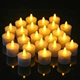 Set of 24 Restaurant Quality Rechargeable Tea Lights; Charging Bases with Metal Contacts, Flickering Amber LEDs Without Glass Holders