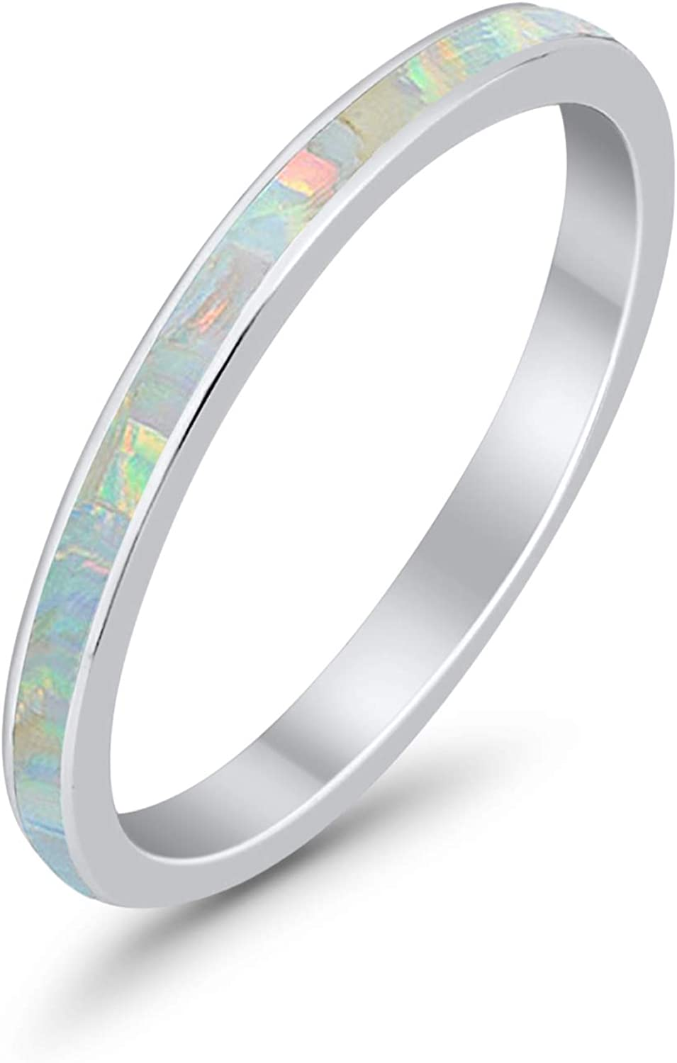 Blue Apple Co. 3mm Full Eternity Stackable Band Ring Lab Created Opal 925 Sterling Silver Choose Color