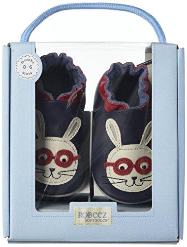 Robeez Smart Rabbit - Zapatillas de casa Bebé-Niñas Azul Marino