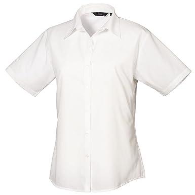 bca1dec305425a Premier Workwear PR302 Womens Business Hospitality Bar Short Sleeve Poplin  Shirt White Size 24: Amazon.co.uk: Clothing
