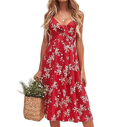 MOOSLOVER Women Dresses Summer V Neck Sleeveless Bohemian Spaghetti Strap Swing Midi Dress(L,Red-1)