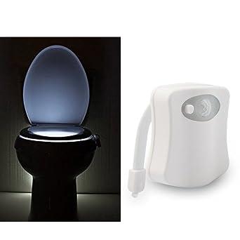 Led Inodoro Luz Nocturna Sensor Inodoro LáMpara de Asiento Para BañO BañO, Pir Activado Por