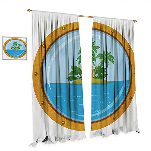 (WinfreyDecor Island Decorative Curtains for Living Room Graphic of Tropic Island View from The Bronze Ship Window with Palm Trees Room Darkening Wide Curtains W120 x L84 Blue Green Orange.jpg)