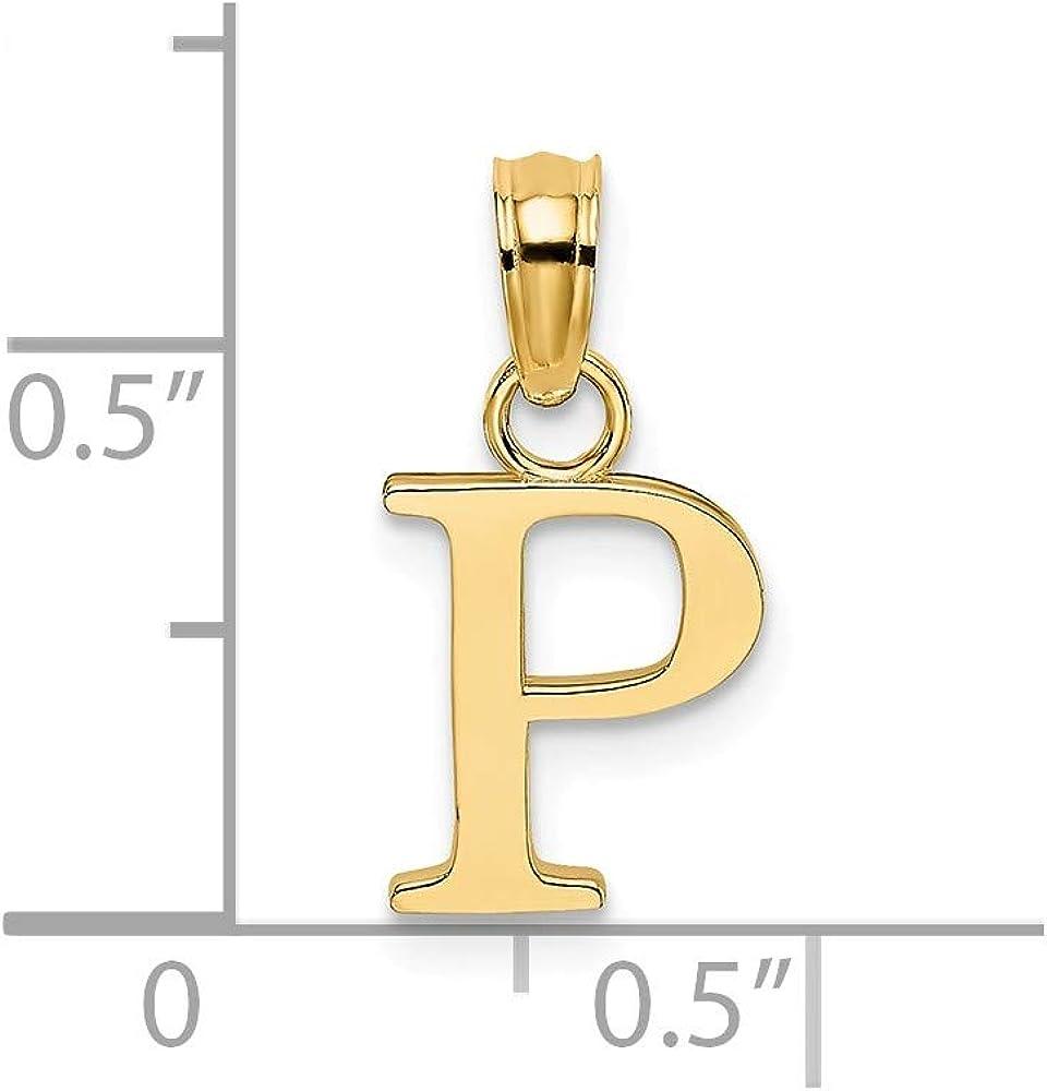 14K Yellow Gold Polished P Block Initial Pendant