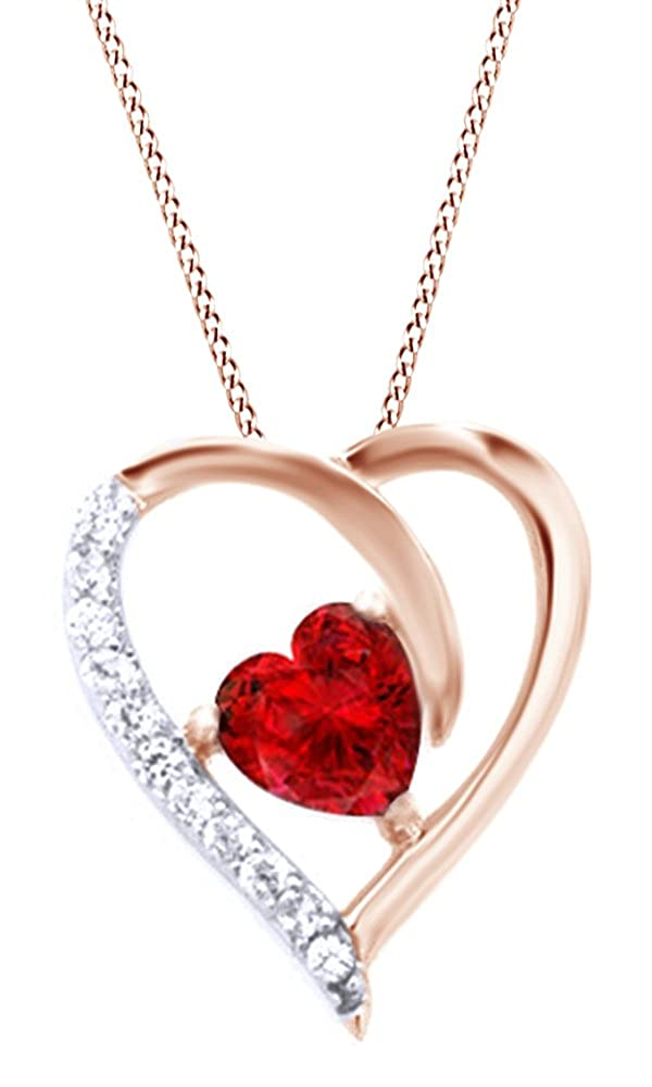 AFFY Simulated Ruby /& White Cubic Zirconia Pendant Necklace in Rose Gold Over Brass