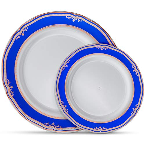 (Laura Stein Designer Dinnerware Set | 64 Disposable Plastic Party Plates | White Wedding Plate - Blue Rim & Rose Gold Accents | Includes 32 10.75