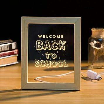 Welcome Back To School Handgefertigt 3d Bilderrahmen Led Nachtlicht