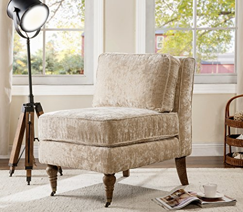 Iconic Home Gandhi Modern Beige Velvet Armless Accent Chair with Solid Oak Castered Front Legs, Oversized