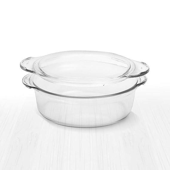 Amazon.com: Cacerola redonda de cristal transparente de ...